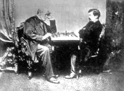 Steinitz (right) playing